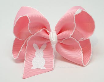 """Easter Bunny Bow, Easter Bunny Hairbow, Pink bow with white glitter bunny -- choose 4"""" or 5"""" bow -- optional headband"""
