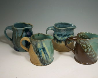 Medium creamer,  small pitcher, pitcher, creamer, pottery creamer, pouring vessel