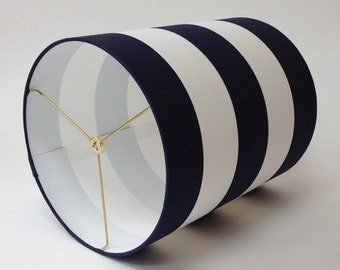 "Navy Blue and White Striped Cylinder Lampshade - 12"" Diameter X 14.5"" Tall"