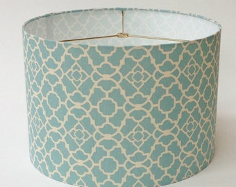 "Drum Lampshade in Waverly Lattice Aqua Geometric Fabric 16"" D X 11"" Tall - Ready to Ship!"