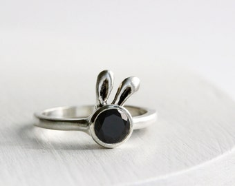 Black Bunny Ring, Black Spinel Sterling Silver Ring, MADE TO ORDER