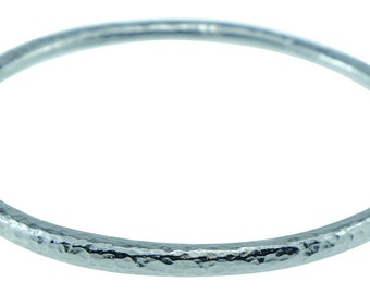 Tin Bangle - 10th Anniversary Gift for Him & Her - Pure Tin Beaten Bangle Inscribed With 10 Years