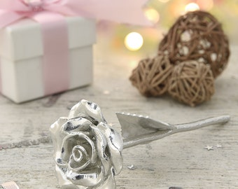 9 Year Anniversary Gift Idea With This Everlasting 9th Anniversary Solid Metal Rose - The Rose That Will Never Die The Same as Your Lov