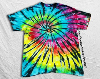 Tie Dye Rainbow Black Spiral Tie dye T Shirt Adult Sizes