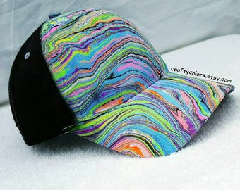 Fluorescent Marbled Hat Tie Dye Hat Painted Hat - 3155