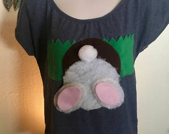 Cute rabbit t shirt digging his way into a hole - LARGE