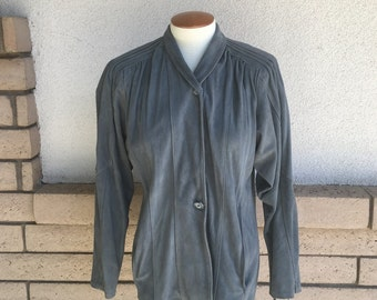 80s Gray Suede Leather Jacket w/Pintuck Design M-L