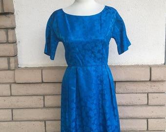 60s  Blue Floral Bombshell Sheath Dress Size Medium