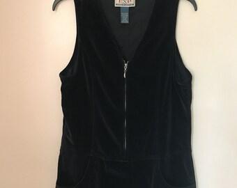 Vintage 90s Black Velvet Jumper Dress Express Jeans Black Velvet Zipper Dress Size 9/10 Large