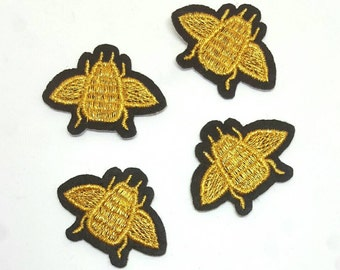 4pcs Gold Queen Bee Embroidered Applique Patches. Iron On or Sew On Patches for T-shirts, Jeans and Jackets. Black & Metallic Gold