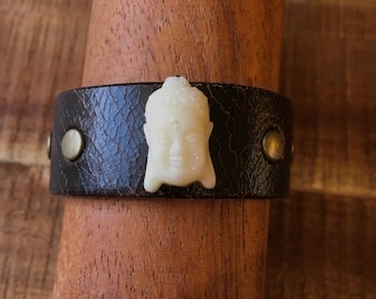Buddha Head Bracelet - Dark Brown - Distressed Leather Cuff Yoga Bracelet