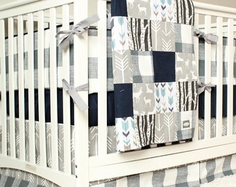Woodland Nursery Bedding Set, Deer Crib Bedding, Navy Blue, Gray Arrow, Plaid Baby Boy Crib Bedding