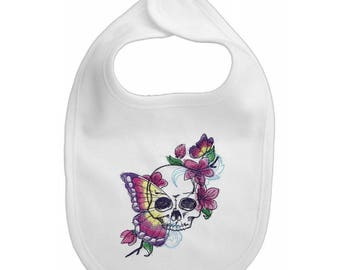 Butterfly and Skull embroidered feeding bib.