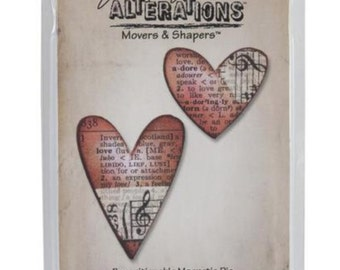 50% off Tim Holtz Heart die sizzix movers and shapers set of 2 for scrapbooking paper
