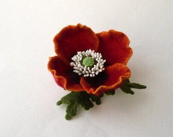 Felt brooch pin red poppy flower, ready to ship