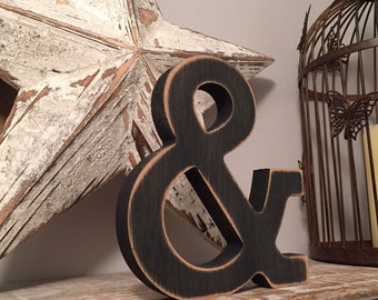 Painted Wooden Letter - Large &, Ampersand, Rockwell Font, 40cm high, 16 inch, any colour, wall letter, wall decor, 18mm