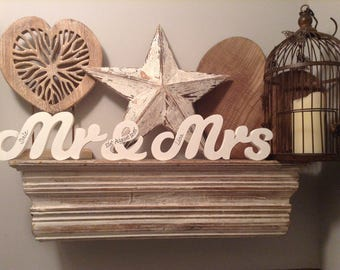 Mr & Mrs - Wooden Wedding Letters - Freestanding - 10cm - Susa Font, various colours and finishes