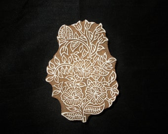 Floral pottery stamp/hand carved Indian block printing stamp/tjap/ wooden block for printing/ paper and fabric printing stamp