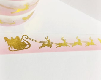 Bright Metallic Gold Foil Christmas Santa and Sleigh With Pink Ombre Background Gold Foil Washi Tape 11 yards 10 meters 15mm