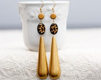 Long Drop Earrings Statement Dangle Earrings Contemporary Jewelry Geometric Earrings - E338