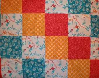 Upcycled Dr. Suess Cat in the Hat Patchwork  Quilt