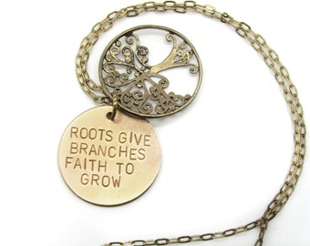 mothers necklace, family tree necklace, tree necklace, inspirational quote, faith, roots, grow, mom, bronze, mothers day gift jewelry