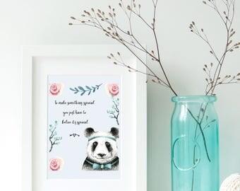 Panda Boy Art Print, art print, panda print, ideal for panda lovers, nursery print