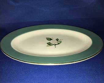 Homer Laughlin Century Service Emerald Oval Relish Dish, Gravy Underplate, Pink Tipped Rose, Vintage Platter, Emerald Relish Dish, Emerald