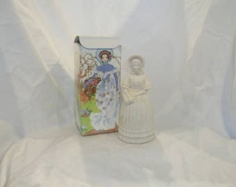 Vintage Victorian Fashion Figurine Bird of Paradise Cologne Decanter, Cologne Bottle, White Victorian Dress with Box
