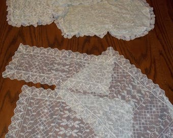 mid century 6 pc lot of 2 sets Sheer voile lace older vintage doilies, 3 ea set, arm chair cover, lace doily table topper dresser scarf