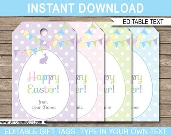Printable easter tag etsy easter gift tags or easter favor tags instant download with editable text pdf template negle Choice Image