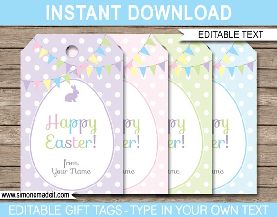 easter name tags template - easter gift tags or easter favor tags instant download