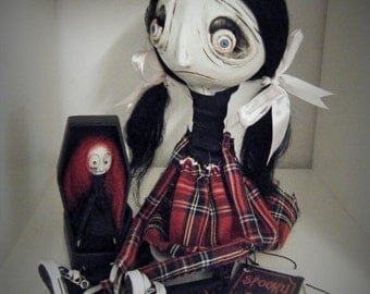 Ooak Zombie Hand Made Gothic Whimsical Doll Red Black Goth Girl