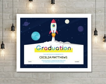 Graduation Certificate - Kids Rocket Spaceship Graduation Certificate DIY (printable)