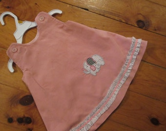 baby girls softess corduroy jumper,  elephant embroidery available to order, 3mo-24mo