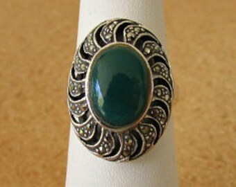 vintage 80s green agate marcasite sterling silver ring size 7 925 sterling  cutouts
