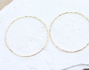 Large 14 K Gold Filled Hoops | Hammered Circle Connectors | Various Sizes