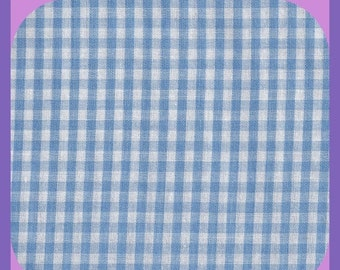 Blue & White Gingham Remnant 1/8 Inch Square 5/6 Yard x 44 Inch wide Fabric Cotton Blend