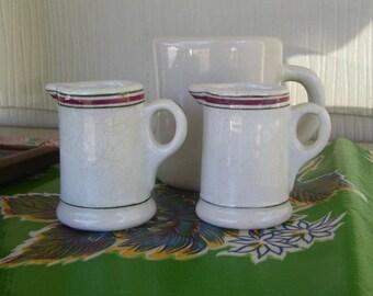 Vintage Pair of Restaurant or Hotel Striped Creamers ~ Unmarke