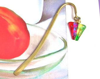 Dichroic Glass Bookmark - Red Orange Green Blue - Fused Glass Prism TriangleToy & Brass Colored Page Marker
