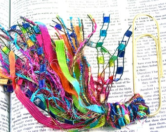 "Bookmark -  BIG 4"" Oversized Paperclip & Fancy Rainbow Colorful Yarn Fiber Tassel - Fluffy Metallic Fuzzy Mixed Novelty Yarns"