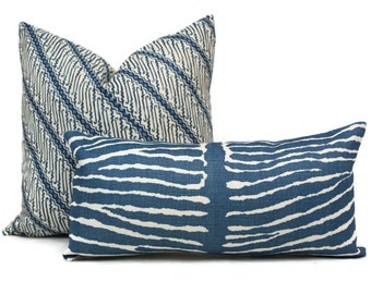 Indigo Blue Le Zebre Linen Pillow by Brunschwig  & Fils  Decorative Pillow Cover 18x18, 20x20, 22x22, Euro, Lumbar pillow, Accent Pillow