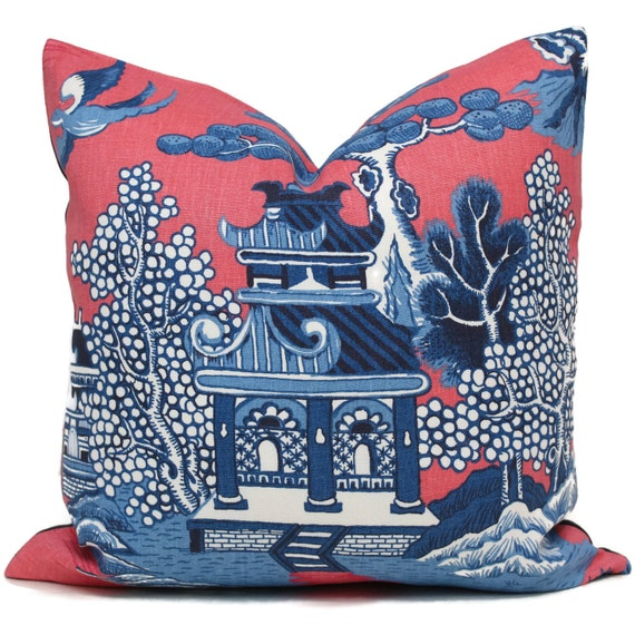 Lee Jofa Willow Pillow Cover, Pink Blue Chinoiserie Pillow Square, Made to order Pillow Cover, Throw Pillow, Toss Pillow, Pagoda