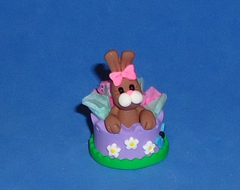 Polymer Clay Bunny Rabbit in Spring/ Easter Basket