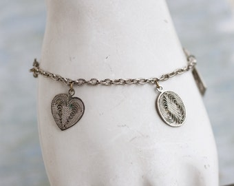 Filigree Charms Bracelet - Heart Diamond and oval pendants