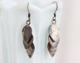 Sterling Silver Dangle Earrings - Teardrop Cascade - Vintage Oxidized Jewelry