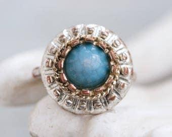 Turquoise Boho Ring - Vintage Cocktail Ring size 7.5