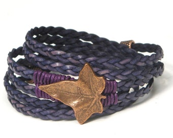 Marine Braided Copper Leaf, Whirly Wrap bracelet, detailed copper leaf, purple linen wrapped, copper findings, copper secure magnet