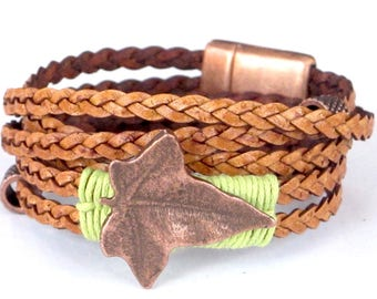 Natural Braided Copper Leaf, Wrap Bracelet, Whirly Wrap, sculpted copper leaf button, natural braided leather, secure copper magnet
