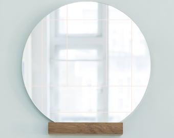 Mirror 'Lines'  Nude Graphic mirror Round mirror 50x50 cm